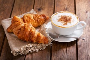 Cup-of-cappuccino-with-croissants-