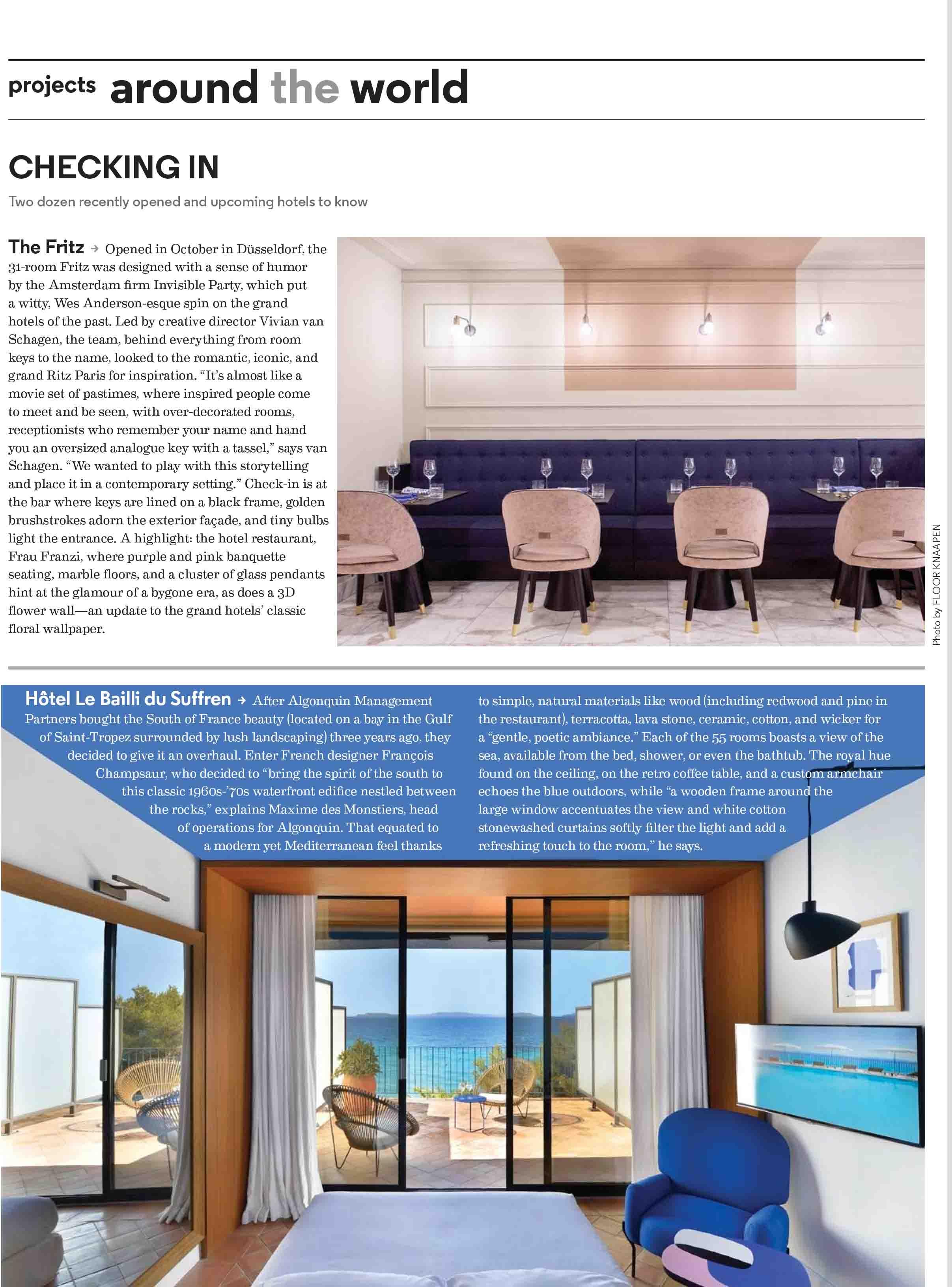 Revue de Presse Bailli de Suffren - Hospitality Design