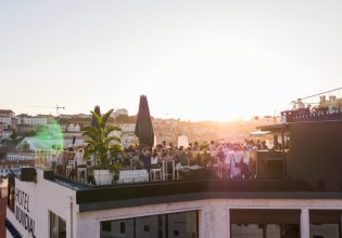 rooftop bar sunset party drone