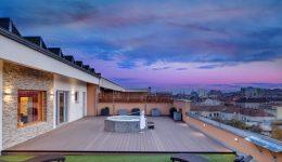 Panorama Vitality point při západu slunce