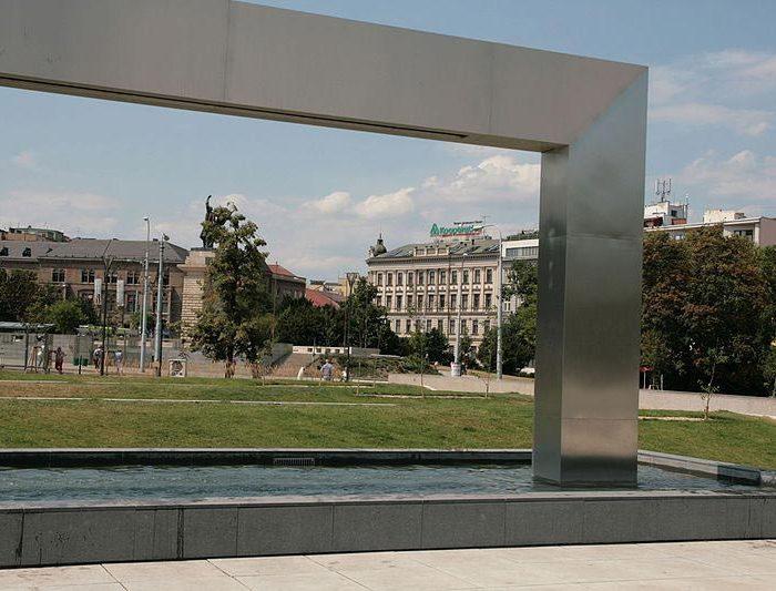 Fountain in front of Janáček Theatre