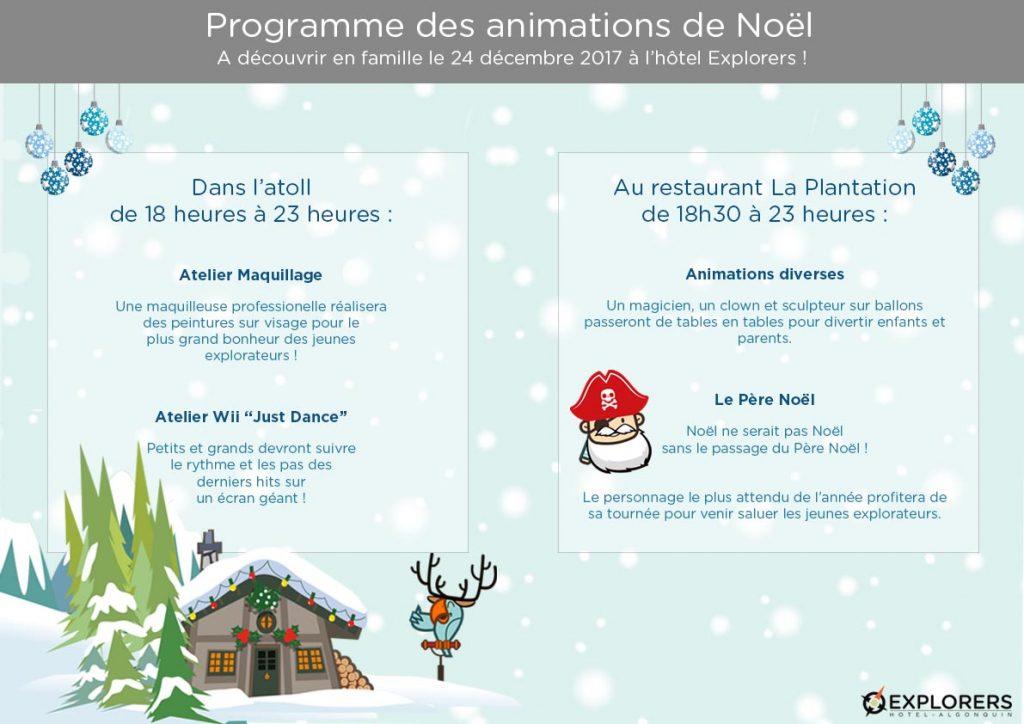 Programme des animations de Noël 2017 à l'hôtel Explorers
