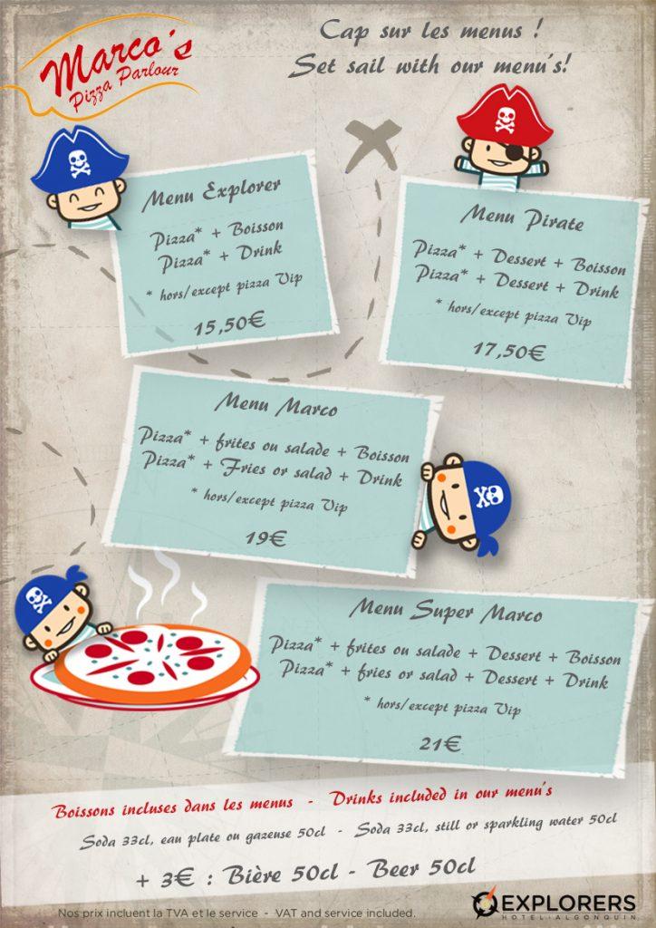 Menus de Marco's Pizza - Hôtel Explorers